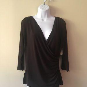 Coldwater Creek faux wrap knit top shirt brown M